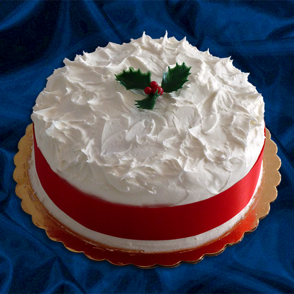Iced Christmas Cake. A traditional english fruit cake